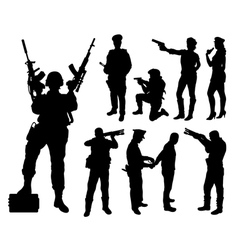 Police soldier military silhouettes vector