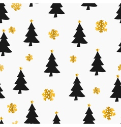 Gold foil snowflakes black christmas trees pattern vector