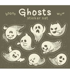 Sticker set of cute cartoon ghosts with different vector image