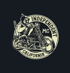 biker gang member riding motorcycle vector image