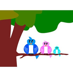 bird family with tree vector image vector image