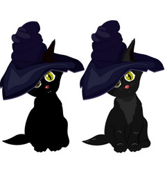 black cat in witch hat on white background vector image vector image
