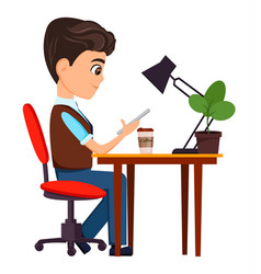 Businessman sitting with smartphone at his desk vector