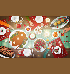 christmas festive dinner delicious traditional vector image