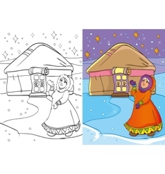 Coloring book of old women standing near yurt vector