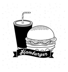 Delicous hamburger with soda and ribbon vector