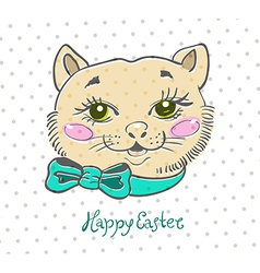 Easter card with cat and flowers vector image
