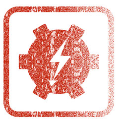 Electric power gear framed textured icon vector