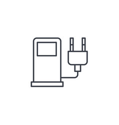 Electric vehicle charging station ecology thin vector