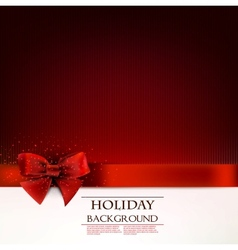 Elegant holiday background with red bow and space vector image vector image