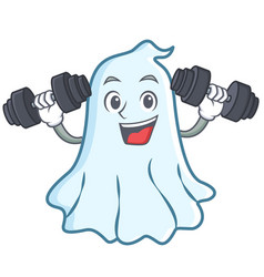 fitness cute ghost character cartoon vector image vector image