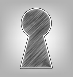 Keyhole sign pencil sketch vector