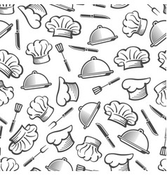 kitchen seamless pattern - chef hat dish and vector image vector image
