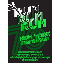 New york marathon run poster vector