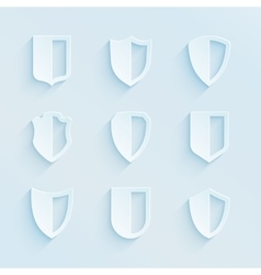 Paper style shield frames icons set vector image vector image