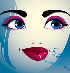 Parts of the face of a young beautiful lady with a vector image
