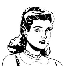 Portrait woman pop art angry expression sketch vector