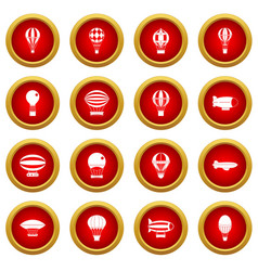 Retro balloons aircraft icon red circle set vector