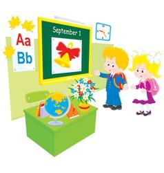 schoolboy and schoolgirl in a class vector image vector image