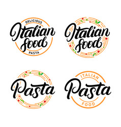 set of italian food and pasta hand written vector image vector image