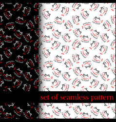 Set of seamless pattern with sing or symbol of cat vector