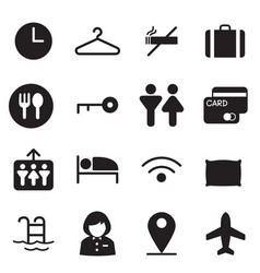 Silhouette hotel hostel motel icons vector