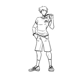 Sporty guy with glasses in shirt and shorts vector image vector image