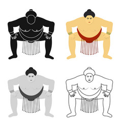 Sumo wrestler icon in cartoon style isolated on vector