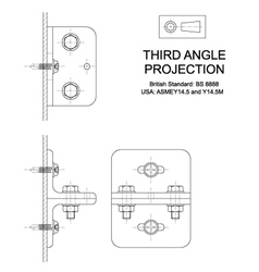 Third Angle Orthographic Projection vector image