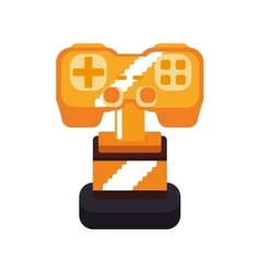 trophy control pixel video game play icon vector image vector image