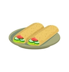 Two Burritos Traditional Mexican Cuisine Dish Food vector image
