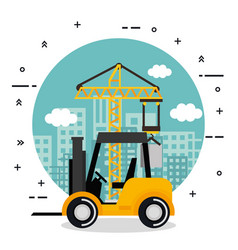 under construction forklift truck vehicle city vector image