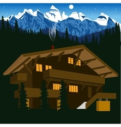 wooden chalet in mountain alps at night vector image vector image