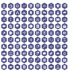 100 viral marketing icons hexagon purple vector image