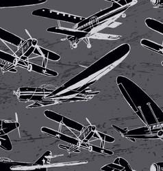 Soviet retro planes seamless pattern vector image