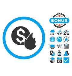 Burn money flat icon with bonus vector
