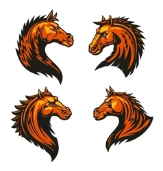 Tribal fire horse mascots with spiky brown mane vector