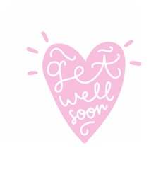 Get well soon heart silhouette with text vector