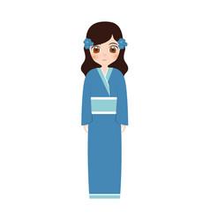 girl japanese doll traditional dress vector image