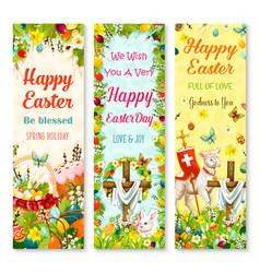 Easter holiday symbols greeting banner set design vector