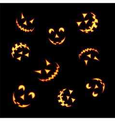 Halloween pumpkin faces vector