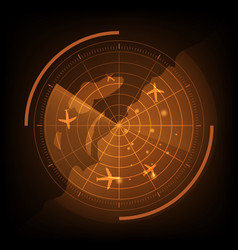 Orange radar screen with airplane and map vector