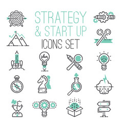 Startup strategy outline web busines icon set vector