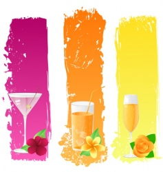 grunge banners with drinks vector image