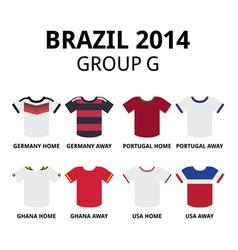 World Cup Brazil 2014 - group F teams jerseys vector image