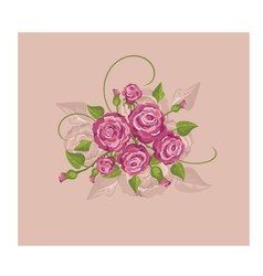 Vintage flowers on a pink background vector