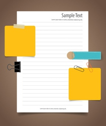 Paper sheet and cute note papers business working vector