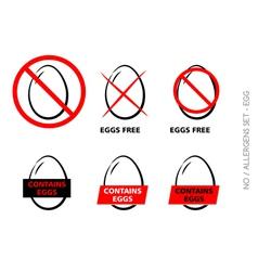 Egg Free Symbols on white background vector image
