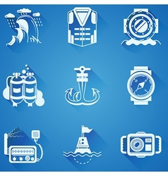 Marine elements white icons vector