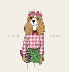 Hand drawn of hipster doggy girl vector